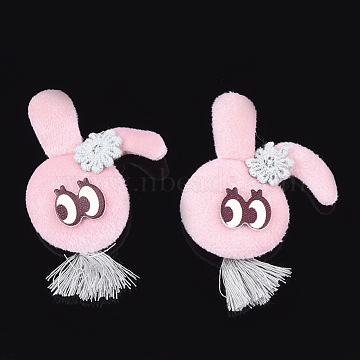 Handmade Bunny Cotton Cloth Costume Accessories, with Tassel, Rabbit Head with Flower, Pink, 55~60x40~45x7~10mm (X-FIND-T021-02A)