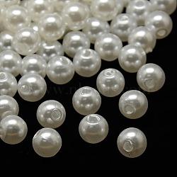 Billes en plastique ABS d'imitation nacre, rond, blanc, 8mm, Trou: 2mm(X-MACR-A004-8mm-01)