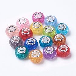 Perles européennes en alliage, avec de l'argent plaqué laiton noyau unique, rondelle, couleur mixte, 14x9mm, Trou: 5mm(RPDL-K002-B)