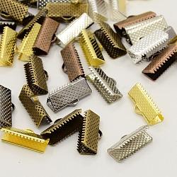 fer mixte pinces d'extrémité de ruban, couleur mélangée, 8x20 mm, trou: 2 mm(IFIN-S008-M)