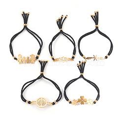 bracelets réglables de bolo de corde en nylon, bracelets de slider, chaînes de boîte, avec 304 résultats de strass acier inoxydable, formes mixtes, or, noir, 8-7 / 8 / 9-1 2 cm); (22.5~24 mm(BJEW-F374-D)