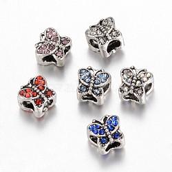 Perles européennes en alliage avec strass, papillon, Perles avec un grand trou   , argent antique, couleur mixte, 9x10x9mm, Trou: 4~5mm(ALRI-G041-M)