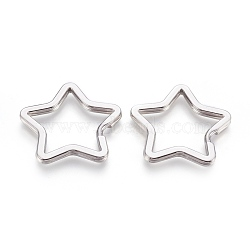 Porte-clés fendus en 304 acier inoxydable, étoiles, couleur inoxydable, 33x34.5x3 mm; intérieur: 27~28 mm(STAS-O114-088P)