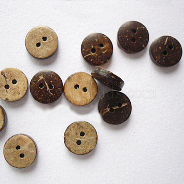 Round 2-Hole Buttons, Coconut Button, BurlyWood, about 10mm in diameter, about 200pcs/bag(NNA0Z1T)