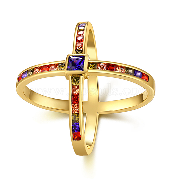 Brass Micro Pave Cubic Zirconia Criss Cross ringS, Double rings, X Rings, Colorful, Golden, US Size 9(18.9mm)(RJEW-BB39455-G-9)