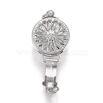 Brass Box Clasps, Flat Round with Flower, Platinum, 27x12x6mm, Hole: 2mm, Jump Ring: 4x1mm(KK-Z005-01P)