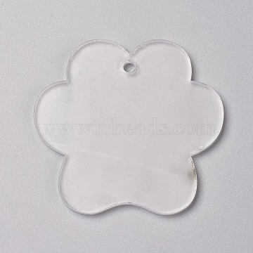 Transparent Blank Acrylic Pendants, for DIY Keychains, Bag Tags, Gift Tags, Christmas Ornaments, Flower, Clear, 54.5x58.5x2.5mm, Hole: 3.5mm(X-TACR-WH0002-08)