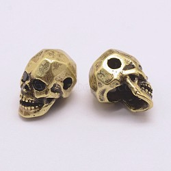 Brass Micro Pave Grade AAA Cubic Zirconia Beads, Long-Lasting Plated, Cadmium Free & Nickel Free & Lead Free, Skull, Antique Bronze, 13x7.5x9mm, Hole: 2mm(X-ZIRC-G093-36AB-NR)