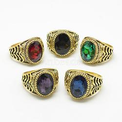 bagues à large bande en verre, avec des résultats d'anneaux d'alliage, facettes, ovale, or antique, couleur mélangée, taille 7~11, 17~21 mm(X-RJEW-T003-22F)