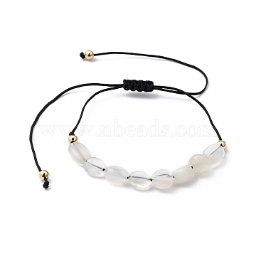 Adjustable Nylon Thread Braided Bead Bracelets, with Golden Plated Brass Beads and Natural Moonstone Beads, Black, Inner Diameter: 1 inch~4-1/4 inches(2.6~10.8cm)(BJEW-JB05421-01)