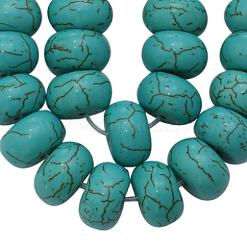 Synthetical Howlite Beads, Dyed, Rondelle, Turquoise, 12x7mm, Hole: 1mm(X-TURQ-G558-3)