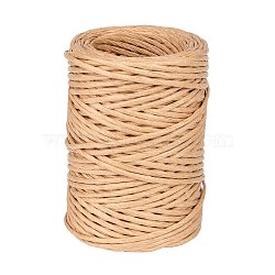 Handmade Iron Wire Paper Rattan, Woven Paper Rattan, BurlyWood, 2mm, about 54.68 yards(50m)/roll(OCOR-WH0017-02)