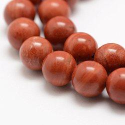 """Chapelets de perles en jaspe rouge naturel, a- année, rond, 8mm, trou: 1mm; environ 49 pcs/chapelet, 15.5"""" (39 cm)(G-E375-8mm-03)"""