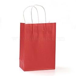 Sacs en papier kraft de couleur pure, sacs-cadeaux, sacs à provisions, avec poignées en corde de nylon, rectangle, rouge, 15x11x6 cm(AJEW-G020-A-12)