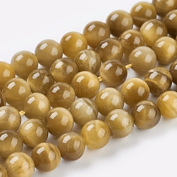 Natural Gold Tiger Eye Beads Strands, Grade A, Round, 6mm, Hole: 1mm; about 31pcs/strand, 8inches