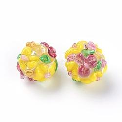 Fait main perles au chalumeau cahoteuses, rond, jaune, 12~13mm, Trou: 1.5~1.6mm(LAMP-E021-06N)