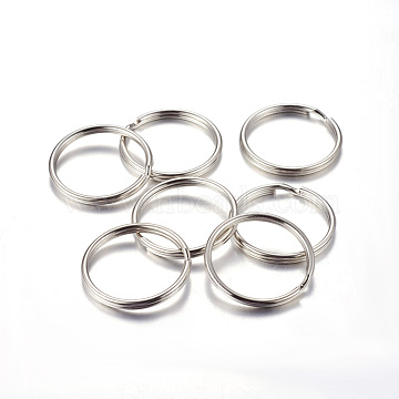 Iron Split Key Rings, Keychain Clasp Findings, Platinum, 30x3mm, Inner Diameter: 26mm(X-IFIN-C057-30mm)