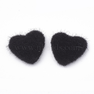 Faux Mink Fur Covered Cabochons, with Aluminum Bottom, Heart, Platinum, Black, 25x26x6~7mm(WOVE-N006-13A)