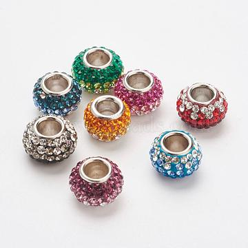 Austrian Crystal European Beads, Large Hole Beads, 925 Sterling Silver Core, Rondelle, Mixed Color, 11.5x7.5mm, Hole: 4.5mm(STER-E049-A)