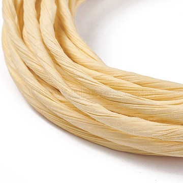 Paper Cords, for Jewelry Making, Light Goldenrod Yellow, 2~3mm, about 5.46 yards(5m)/roll(OCOR-WH0052-03B)