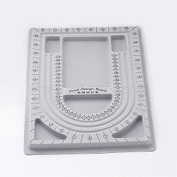 Пластиковые бисера доски дизайна, серые, Размер : шириной около 24 см , 33 см длиной, 1 см(TOOL-H003-1)