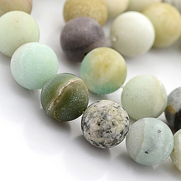 Natural Frosted Amazonite Round Beads, 12mm, Hole: 1mm; 32pcs/strand, 15.5inches(X-G-D616-12mm)