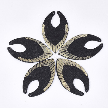 Environmental Cowhide Leather Big Pendants, Leaf, Black, 60x36x1.5mm, Hole: 1.5mm(X-FIND-S301-22A)
