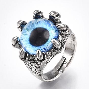 DeepSkyBlue Glass Finger Rings