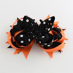 Halloween gros-grain bowknot alligator pinces à cheveux, avec des clips de fer, platine, orange foncé, 110x130mm(PHAR-R165-03)
