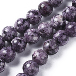 Natural Labradorite Beads Strands, Dyed & Heated, Round, DarkViolet, 8mm, Hole: 1.2mm; about 47pcs/strand, 14.9''(38cm)(X-G-G796-01B-02)