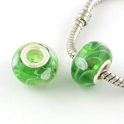 chalumeau à la main européennes grosses perles de trous, avec des noyaux de laiton de ton argent, rondelle, limegreen, 14x9~10 mm, trou: 5 mm(X-LPDL-R007-05)
