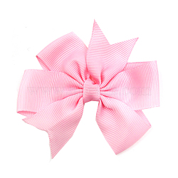 Grosgrain Bowknot Alligator Hair Clips, with Iron Alligator Clips, Platinum, Pink, 80mm(OHAR-Q108-12)