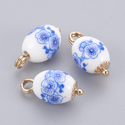 Pendentifs en porcelaine, avec les accessoires en laiton, ovale, or clair, cornflowerblue, 16x8mm, Trou: 2mm(X-KK-F769-19LG)