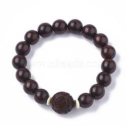 """Красный браслет из сандалового дерева, стрейч браслеты, круглые, коричневые, 2"""" (5.1 см)(BJEW-S140-02B)"""