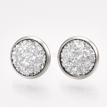 201 Stainless Steel Stud Earrings, with Resin and Ear Nuts, Flat Round, Stainless Steel Color, Silver, 14mm; Pin: 0.8mm(EJEW-T005-JN114-1)