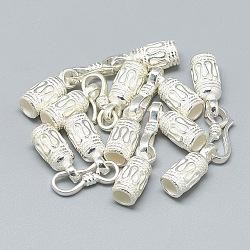 925 agrafes et crochets en argent sterling, colonne, argenterie, 42~43mm; Fermoir crochet en S: 15.5x5.5x2 mm; extrémité du cordon: 16~17x6.5mm, diamètre intérieur: 4 mm(STER-T002-29S)