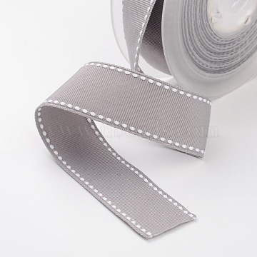 Grosgrain Polyester Ribbons for Gift Packings, Silver, 1-1/2 inches(38mm), about 100yards/roll(91.44m/roll)(SRIB-I001-038-012W)