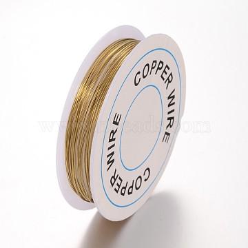 Fil de bijoux en cuivre, Sans cadmium & sans nickel & sans plomb, or, 0.6 mm; 3.5 m / rouleau(X-CW0.6mm007A-NF)