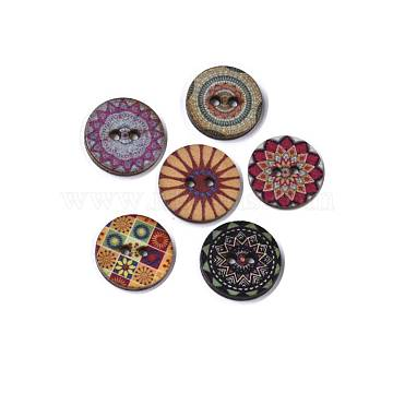 2-Hole Printed Wooden Buttons, Flat Round with Floral Pattern, Undyed, Mixed Color, 20x2.5~3mm, Hole: 2mm(BUTT-ZX004-01A-M)