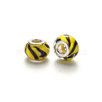 Handmade Lampwork European Beads, Large Hole Rondelle Beads, with Platinum Tone Brass Double Cores, With Spiral Pattern, Yellow, 14~16x9~10mm, Hole: 5mm(LPDL-N001-054-F07)