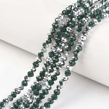 Electroplate Opaque Glass Beads Strands, Half Silver Plated, Faceted, Rondelle, Dark Green, 4x3mm, Hole: 0.4mm; about 145pcs/strand, 18.9 inches(48cm)(X-EGLA-A034-P4mm-M04)