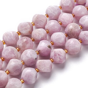 Natural Kunzite Beads Strands, with Seed Beads, Six Sided Celestial Dice, 11~12x11~12x11~12mm, Hole: 0.5mm, about 15pcs/strand, 7.97''(20.25cm)(G-M367-15A)
