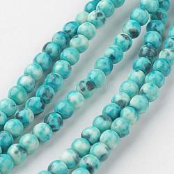 """Chapelets de perle en jade blanc naturel, rond, teint, darkturquoise, 4mm, trou: 1mm; environ 104 pcs/chapelet, 15.7"""" (400 mm).(G-G916-4mm-04)"""