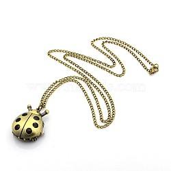 """Collier pendentif en alliage de coccinelle montre de poche de quartz, avec des chaînes de fer et fermoirs pince de homard, bronze antique, 31.9""""; cadran montre: 27.5x35x7 mm(WACH-P001-02)"""