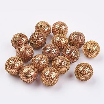 17mm Beige Round Brass Beads