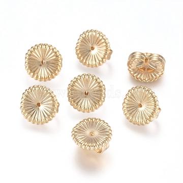 Brass Ear Nuts, Earring Backs, Flower, Real 14K Gold Plated, 9x4.5mm, Hole: 0.8mm(X-KK-L198-008LG)