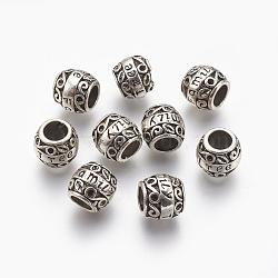 Alliage  perles européennes de grandes trous supports de strass, canon avec mot, sans plomb, argent antique, s'adapter pour 1.5 mm strass; 11.5x9.5 mm, Trou: 5mm(X-TIBEB-7835-AS-RS)