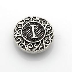Boutons à pression de bijoux de lettre d'émail d'alliage de zinc de ton argent antique, plat rond, sans plomb & sans nickel & sans cadmium , letter.i, 19x6 mm; bouton: 5 mm(SNAP-N010-86I-NR)