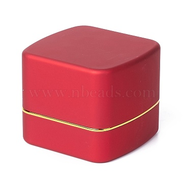 Square Plastic Jewelry Ring Boxes, with Velvet and LED Light, Red, 6.5x6.7x5.6cm(OBOX-F005-01B)