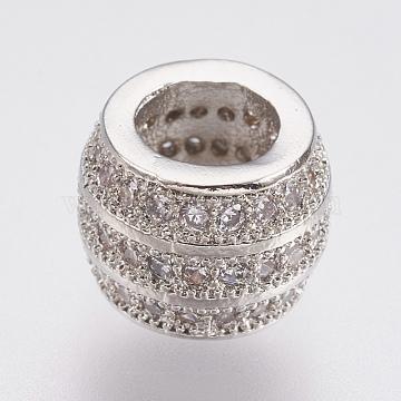 Brass Micro Pave Cubic Zirconia European Beads, Large Hole Beads, Lead Free & Cadmium Free, Barrel, Platinum, 9.5x7mm, Hole: 5mm(ZIRC-F083-085P-RS)